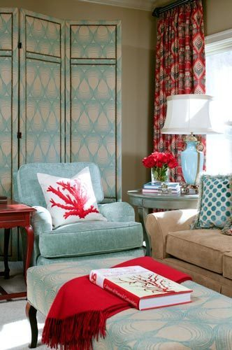 red and turquoise living room via twolia Turquoise + Red